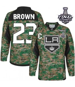 NHL Dustin Brown Los Angeles Kings Youth Camo Authentic 2014 Stanley Cup Veterans Day Practice Reebok Jersey - Brown