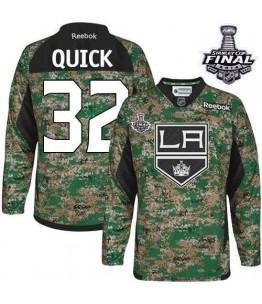 NHL Jonathan Quick Los Angeles Kings Authentic 2014 Stanley Cup Veterans Day Practice Reebok Jersey - Camo