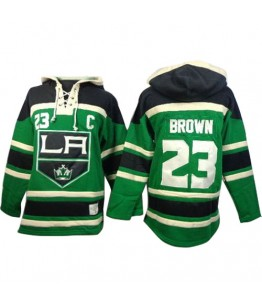 NHL Dustin Brown Los Angeles Kings Old Time Hockey Authentic St. Patrick's Day McNary Lace Hoodie Jersey - Green